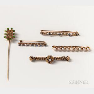 18kt Gold Gem-set Stickpin and Four Bar Brooches