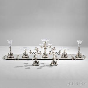 Twelve-piece Egyptian Revival Silver-plate and Cut Glass Surtout de Table Service