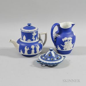 Three Wedgwood Blue Jasper Dip Ceramic Items