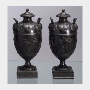 Pair of Wedgwood Black Basalt Vases and Covers