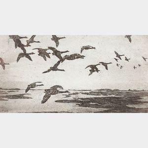 Frank Weston Benson (American, 1862-1951)    Geese Against The Sky