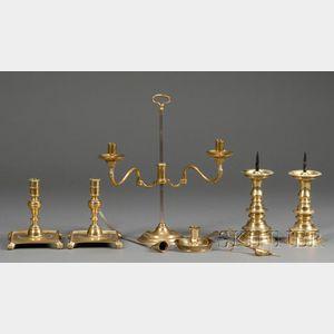 Eight Brass Lighting Items