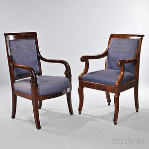 Two Classical Mahogany Open Armchairs