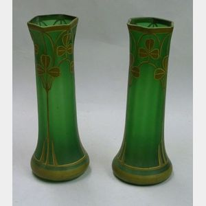 Pair of Art Nouveau Painted Shamrock Decorated Frosted Green Glass Vases.