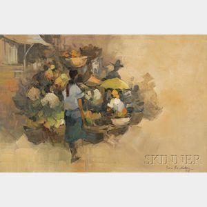Cesar Buenaventura (Filipino, 1919-1983)      Market Scene.