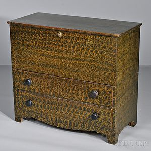 Putty-painted Pine Chest over Two Drawers