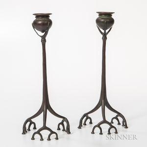 Pair of Tiffany Studios Bronze Root Candlesticks