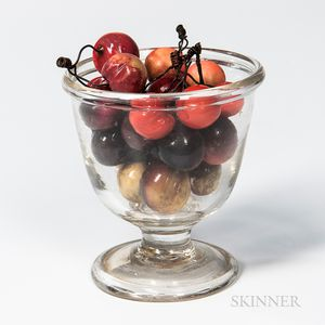 Blown Glass Footed Vase with a Collection of Porcelain Cherries