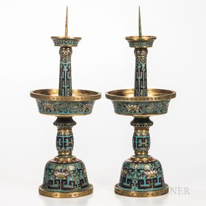 Pair of Cloisonne Candlesticks