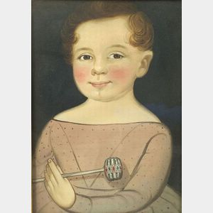 William Matthew Prior (Maine, Maryland, and Massachusetts, 1806-1873)  Portrait of a Boy with Rattle, 1840s.