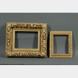 Lot of Two Picture Frames:    One with Floral and Laurel Motifs