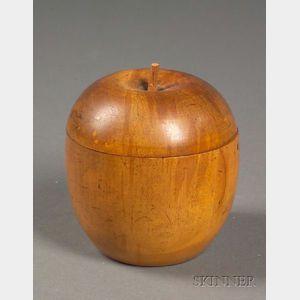 Small Georgian Fruitwood Apple-form Tea Caddy