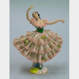 Dresden Porcelain Crinoline Dancer Figurine