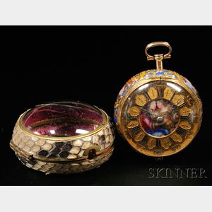 Sold for: $58,425 - Samuel Ruel Enameled Pair Case Watch