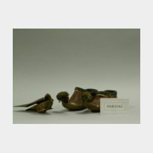 Pair of Greek Wooden Birds and Shoes.