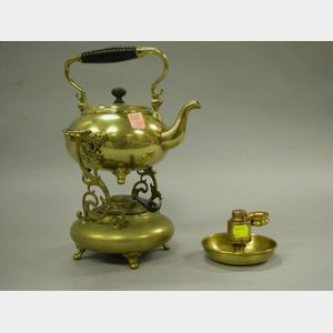 Brass Hot Water Kettle on Stand and a Brass Inkwell.