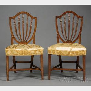Pair of Hepplewhite Carved Mahogany Shield-back Chairs