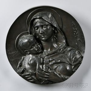 After Alfred Lanson (French, 1851-1898)       Bronze Plaque of the Madonna and Child