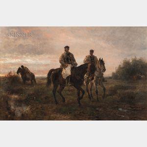 Otto von Thoren (German, 1828-1889)      Horsemen at Sunset