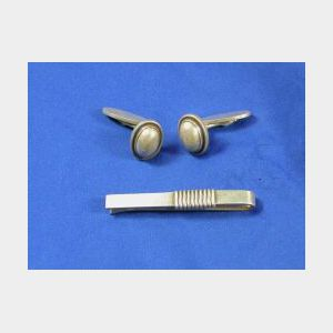 Pair of Sterling Silver Cuff Links and Tiebar