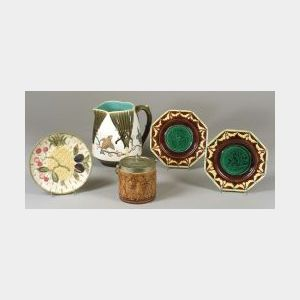 Wedgwood Majolica Pitcher, Pair of Cherub Plates, Pineapple and Fruit Plate and a Biscuit Jar.