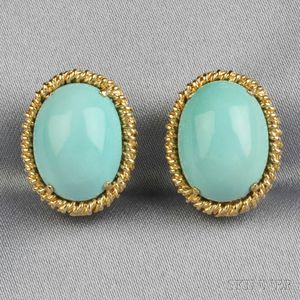 18kt Gold and Turquoise Earclips, Tiffany & Co.