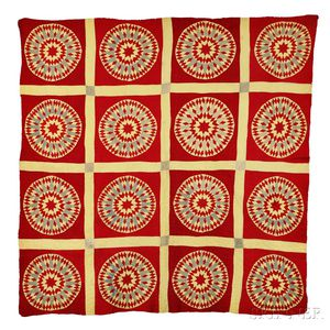 """Mariner's Compass"" Variant Yellow and Red Patchwork Quilt"