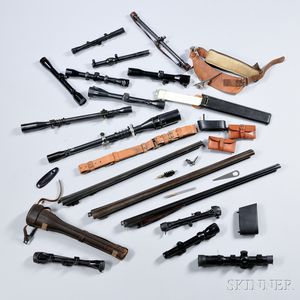 Group of Scopes and Miscellaneous Shotgun Parts