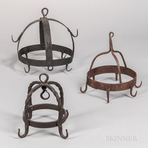 Three Wrought Iron Game Hooks