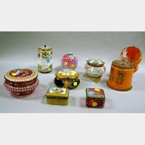 Eight Assorted Enamel Decorated Glass and Porcelain Boxes