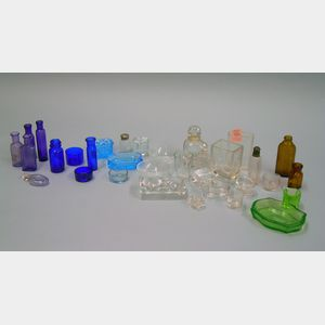 Lot of Small Glass Items of Bottles and Pressed Glass Salts