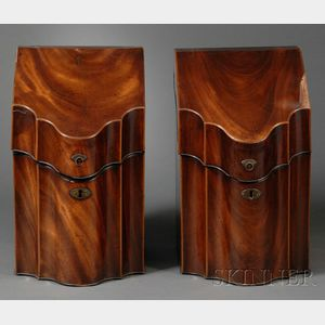 Pair of Mahogany Veneer Inlaid Knife Boxes