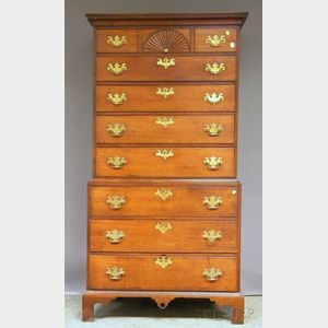 Chippendale Carved Cherry Chest-on-Chest