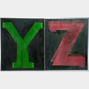 American School, Late 20th Century  Y and Z Each signed Hogg 85 on the reverse. Oil on canvas, the green Y and t...