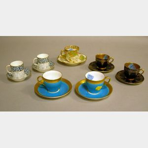 Six English Cups and Saucers and an Art Nouveau Cup and Saucer.