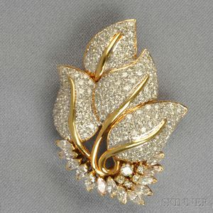 18kt Gold and Diamond Leaf Brooch