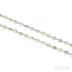 18kt Gold and Aquamarine Necklace