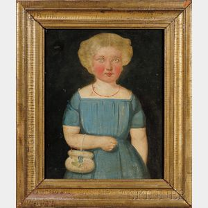 American School, 19th Century      Portrait of a Girl with Hazel Eyes Wearing a Blue Dress and Coral Necklace.