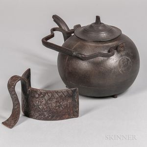 Cast Iron Kettle and Wrought Iron Kettle Pusher