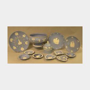 Twenty-five Wedgwood Solid Light Blue Jasper Items