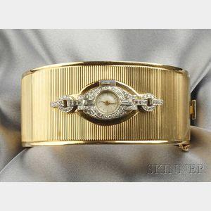 Platinum, 14kt Gold, and Diamond Bracelet Watch