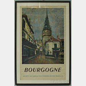 "Framed French National Railways Company ""Bourgogne"" Travel Poster"