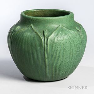 Arts and Crafts Green Pottery Vase