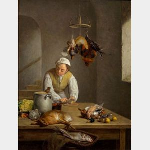 Continental School, 17th/18th Century Style    At Work in the Kitchen