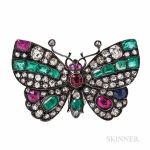 Antique Gem-set Butterfly Brooch
