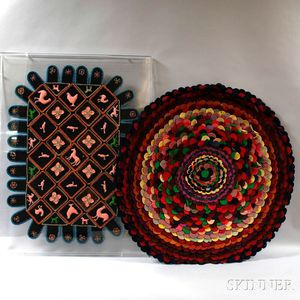 Embroidered and Stuffed Folk Art Mat and a Mounted Penny Rug