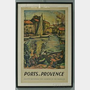 "Framed French National Railways Company ""Ports de Provence"" Travel Poster"