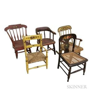 Five Paint-decorated and Stenciled Child's Chairs