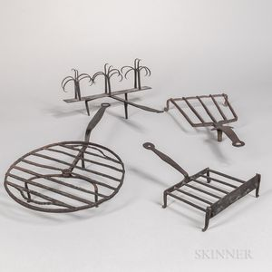 Three Wrought Iron Broilers, a Trivet, and a Toaster