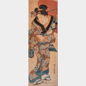 Three Vertical Oban   Diptych Woodblock Prints